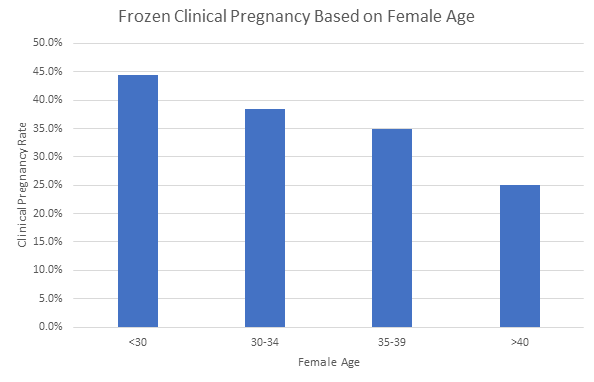 frozen clinical pregnancy rate based on female age